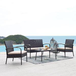 Купить Комплект мебели ЭкоДизайн 210273 кофейный (стол + 2 кресла + диван)