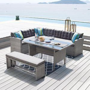 Купить Комплект мебели ЭкоДизайн 210339 (стол + угловой диван + скамья))