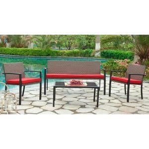 Купить Комплект мебели ЭкоДизайн 210156 кофейный (стол + 2 кресла + диван) цвет красный