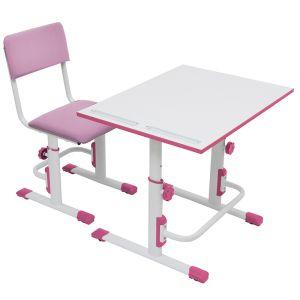 Купить Комплект детской мебели ВПК растущие парта + стул цвет бело-розовый