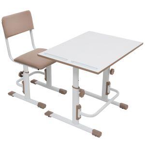 Купить Комплект детской мебели ВПК растущие парта + стул цвет белый/макиато