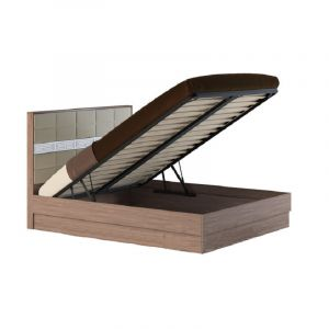 Купить Кровать АСМ-Модуль Неаполь 160*200 с подъемным механизмом цвет шимо темный/велюр беж/МДФ шелк