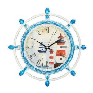 Купить Настенные часы Русские подарки 222461 цвет белый/синий