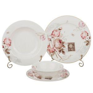 Купить Столовый набор Арти М 87-091 Мэрибель на 6 персон (24 предмета) цвет розовый/бежевый