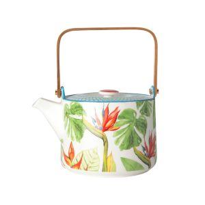 Купить Чайник заварочный Анна Лафарг с деревянной ручкой Парадиз 0,7 л цвет белый/зелёный