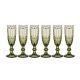 Набор бокалов для шампанского Арти М 26-111 Серпентина (6 шт.) 170 мл цвет зелёный