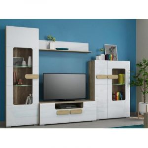 Купить Тумба под телевизор АСМ-Модуль ТТВ1600 Фортуна цвет дуб каньон/белый глянец