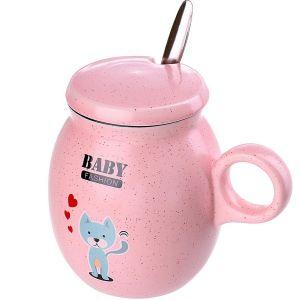 Купить Кружка КОРАЛЛ 2585 с крышкой и ложкой 380 мл цвет розовый