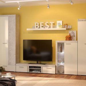 Купить Тумба под телевизор Сакура ТТВ1.1 большая Best цвет бетон/белый глянец