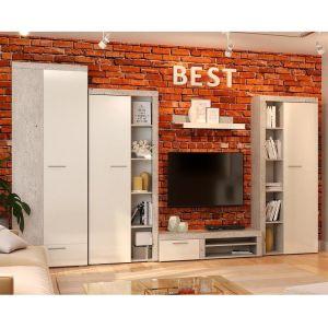 Купить Гостиная Сакура Best цвет бетон/белый глянец