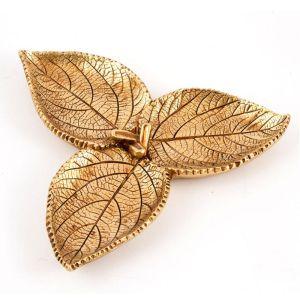 Купить Ваза Русские подарки 128000 Золотые листья 14*14*2 см цвет золото