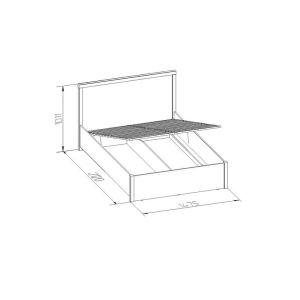 Купить Кровать ГМФ К3.2 140*200 с подъемным механизмом Bauhaus цвет дуб сонома/орех шоколадный