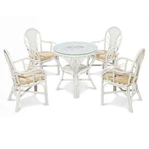 Купить Обеденный комплект ЭкоДизайн LaMokko L W (стол Mokko L и 2 стула Larisa-B) цвет белый