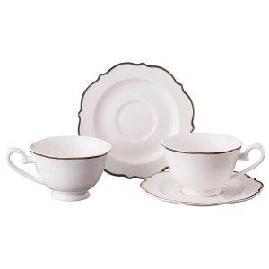 Купить Чайный набор Арти М 115-282 на 2 персоны (4 предмета) 230 мл цвет белый/золотой