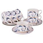 Чайный набор Арти М 264-780 на 6 персон (12 предметов) 240 мл цвет белый/синий