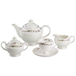 Купить Чайный набор Арти М 440-002 на 6 персон (15 предметов) Английский сад цвет белый/зелёный