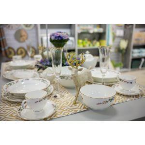 Купить Чайный набор Арти М 440-003 на 6 персон (12 предметов) Английский сад цвет белый/зелёный