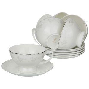 Купить Чайный набор Арти М 440-186 на 6 персон (12 предметов) Гринвич 250 мл цвет белый/серебро