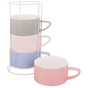 Купить Чайный набор Арти М 495-1048 (4 чашки и подставка) 230 мл цвет мультиколор