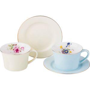 Купить Чайный набор Арти М 760-551 на 2 персоны (4 предмета) Времена года 250 мл цвет голубой/бежевый