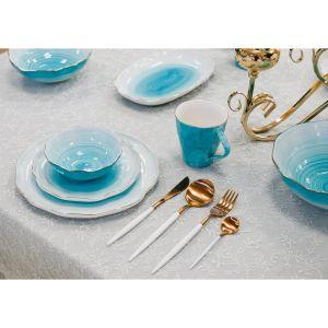 Купить Набор столовых приборов Арти М 495-5003 на 1 персону (4 предмета) цвет белый/золотой
