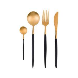 Купить Набор столовых приборов Арти М 495-5004 на 1 персону (4 предмета) цвет чёрный/золото