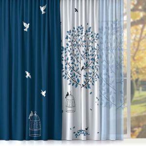 Купить Шторы Праймтекс Волшебная ночь ДТ016 Ш0050/1 КШК037 42 Dove Vual Loft цвет голубой