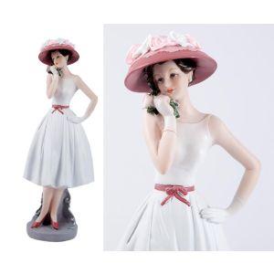 Купить Статуэтка Русские подарки 27658 Мисс Нежность 13*10*33 см цвет белый/розовый