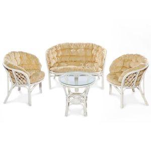 Купить Комплект мебели ЭкоДизайн 03/10 Багама (диван + 2 кресла + стол) цвет белый