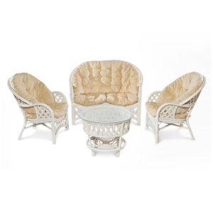 Купить Комплект мебели ЭкоДизайн 11/01 Рузвельт (диван + 2 кресла + стол) цвет белый