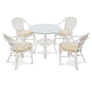 Купить Обеденный комплект ЭкоДизайн Ellena (стол + 4 кресла) цвет белый