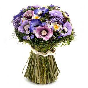 Купить Цветочная композиция Русские подарки 79040 17*17*22 см цвет зелёный/фиолетовый