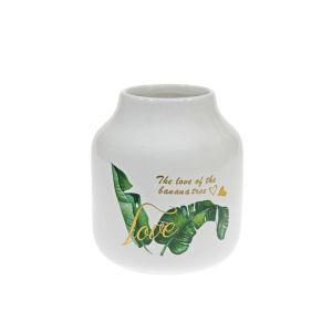 Купить Ваза Надежда 780907 Тропик 13*13*15 см цвет белый/зелёный