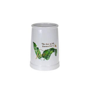 Купить Ваза Надежда 789407 Монстера 12*12*17 см цвет белый/зелёный