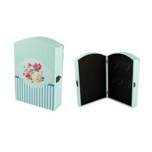Купить Ключница Русские подарки 47112 Цветы 7*20*29 см цвет бирюзовый