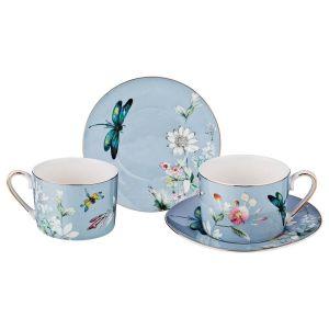 Купить Чайный набор Арти М 275-1018 на 2 персоны (4 предмета) Блоссом 250 мл цвет голубой