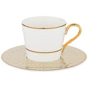 Купить Чайный набор Арти М 86-2210 на 6 персон (12 предметов) 200 мл цвет белый/золотой