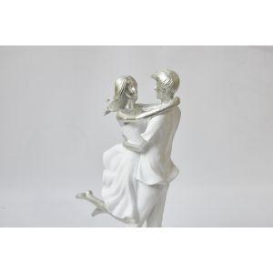 Купить Статуэтка Арти М 162-448 Влюбленные Фьюжн 18,5*9,5*32,5 см цвет белый/серебро