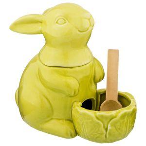 Купить Банка для сыпучих продуктов Арти М 490-356 для соли Кролик 17,5*15*11 см цвет зелёный