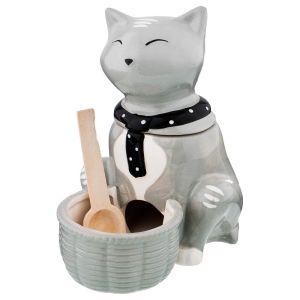 Купить Банка для сыпучих продуктов Арти М 490-358 для соли Ля мур 15*15*10 см цвет серый