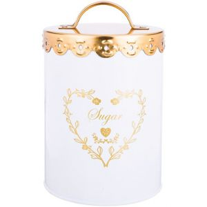 Купить Банка для сыпучих продуктов Арти М 790-135 Сахар 15,5*11 см цвет белый/золотой