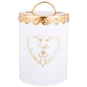 Купить Банка для сыпучих продуктов Арти М 790-136 Кофе 15,5*11 см цвет белый/золотой