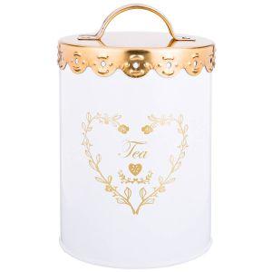 Купить Банка для сыпучих продуктов Арти М 790-137 Чай 15,5*11 см цвет белый/золотой