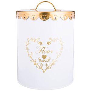 Купить Банка для сыпучих продуктов Арти М 790-139 Мука 20*14 см цвет белый/золотой