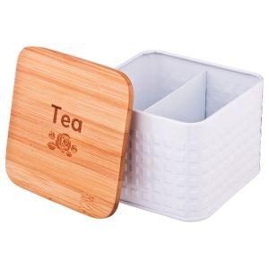 Купить Емкость для хранения Арти М 790-158 для чайных пакетиков 11*11*7 см цвет белый/золотой