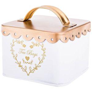Купить Банка для продуктов Арти М 790-141 для чайных пакетиков 11*11*7 см цвет белый/золотой