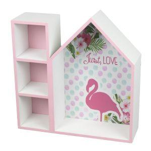 Купить Полка навесная Надежда 6818026 Фламинго 34*12*34 см цвет белый/розовый