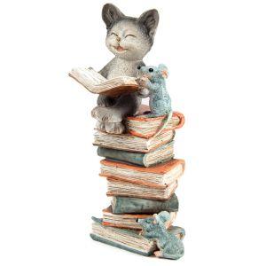 Купить Фигурка декоративная Русские подарки 22870 Котик мышке читает книжки 8*8*15 см цвет мультиколор