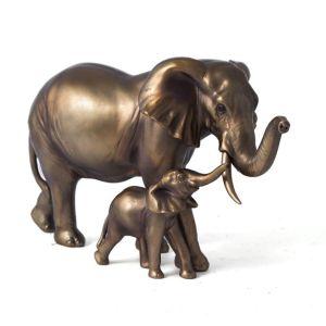 Купить Фигурка декоративная Русские подарки 72534 Слоны мама и малыш 30*13*18 см цвет бронза