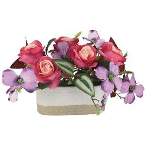 Купить Цветочная композиция Анна Лафарг DG-J7526 Розы малиновые с сиреневыми цветами в вазе